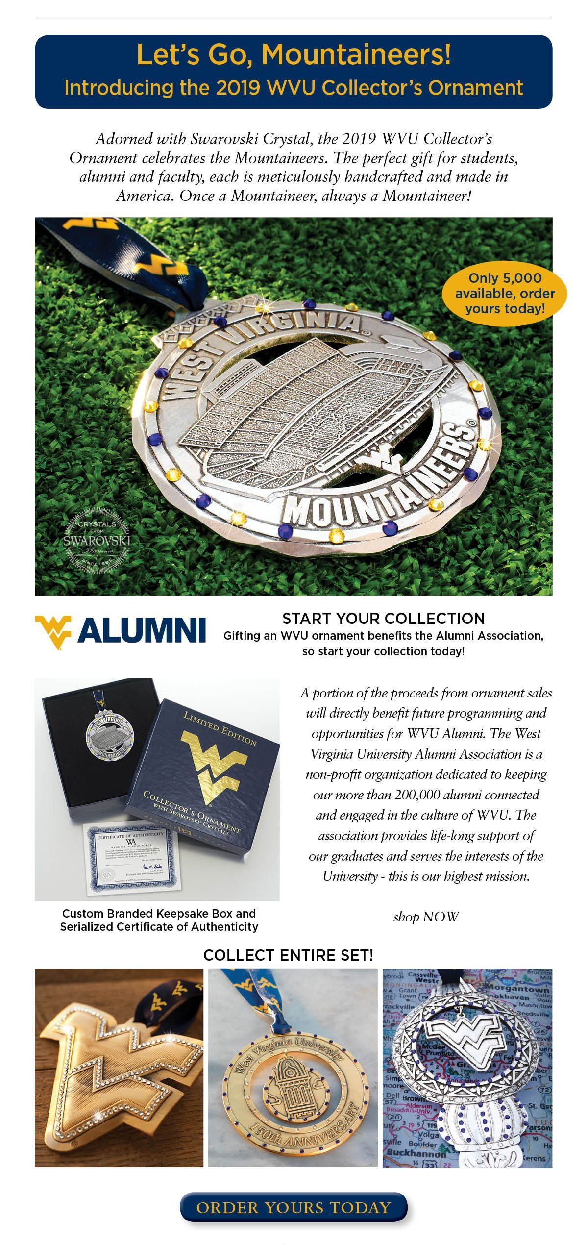 2019 WVU Mountaineers Collector's Ornament #wvumountaineers A great gift for students, fans and alumni.  Only 5,000 available.  Get yours today! #WVU #mountaineers #wvumountaineers