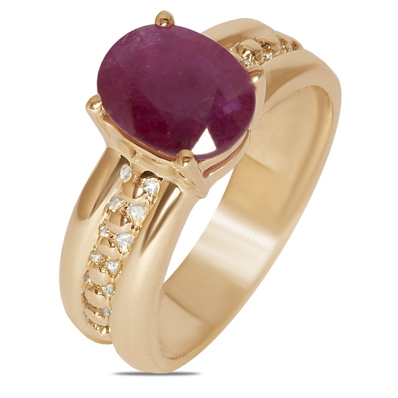 Ladies fashion ring with genuine ruby in k yellow gu