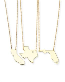 Moon & Lola Personalized State Pendant Necklace, Gold, Alabama-Mississippi