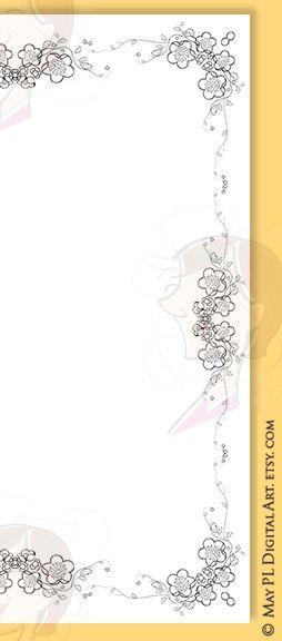 Pretty flourish digital page 8x11 frames border set, floral design ...