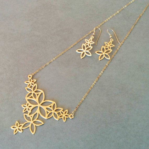 Gold Flower Necklace Set Of Flower Necklace And Flower Earrings
