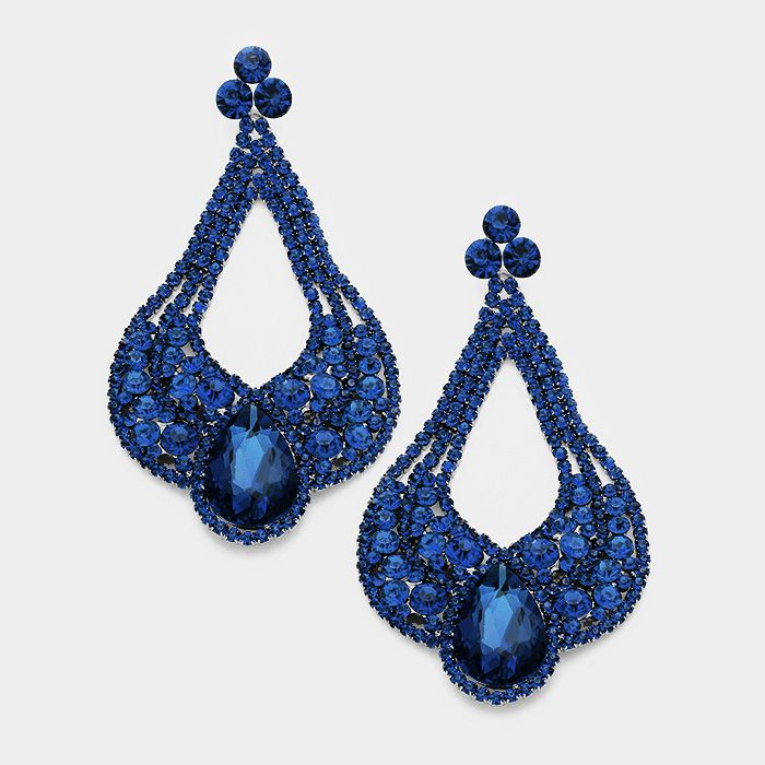 Large Chunky Cut Out Navy Crystal Teardrop Earrings Pageant 4 5 46 More At