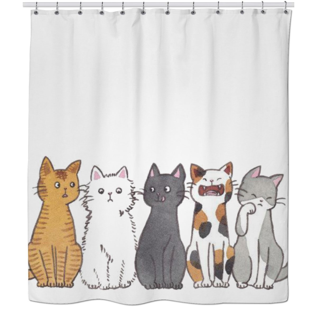 Cat Shower Curtain Funny Playful Cats Image Print for Bathroom