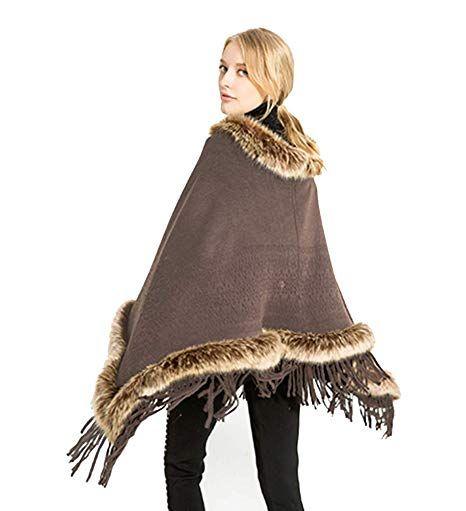 ced638c9a6b57 OVEL Womens Faux Fur shawl Batwing Tassels Poncho Cape Winter Knit Sweater  Cloak #OVEL #