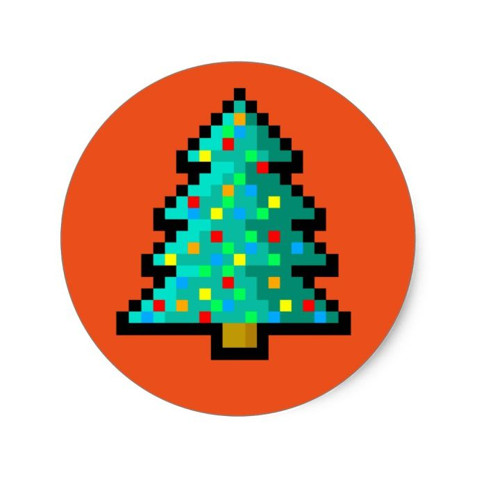 Pixel Art Christmas Tree Green With Decorations Classic Round Sticker Christmas Stickers Xmas Eve Custom Holiday Merry Christmas