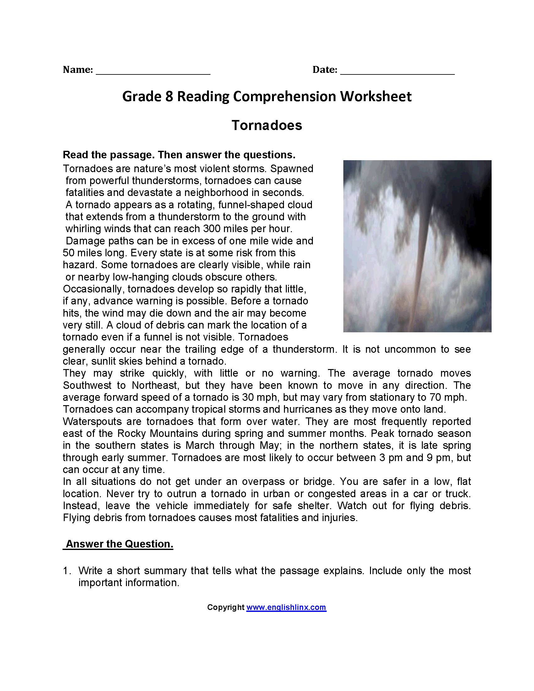Tornadoes Eighth Grade Reading Worksheets