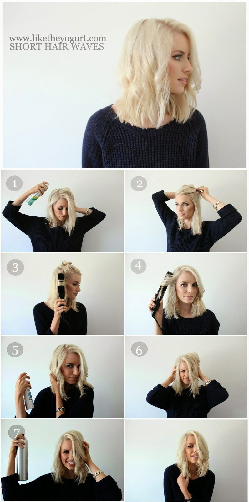 How to easy wavy hair tutorial for short hair like the yogurt