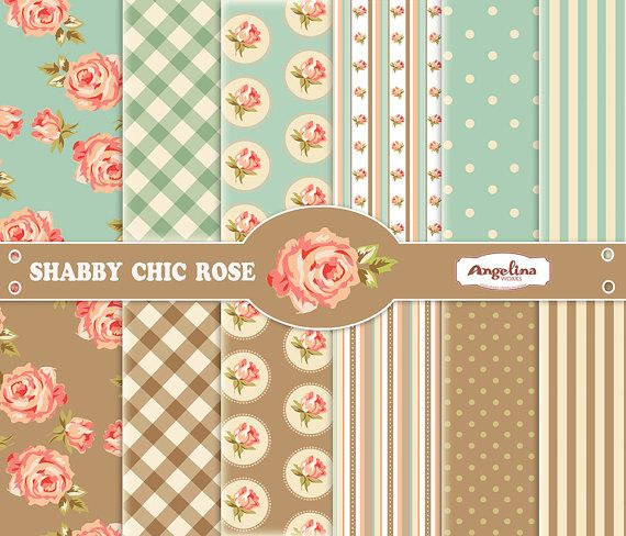 12 Shabby Chic Peach Roses Blue And Brown Digital Scrapbook Etsy Vintage Scrapbook Paper Shabby Scrapbooking Digital Scrapbook Paper