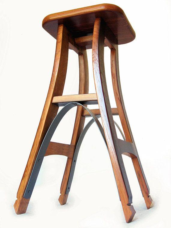 Eiffel, barstool recycled oak wine barrel high stool | Muebles de ...