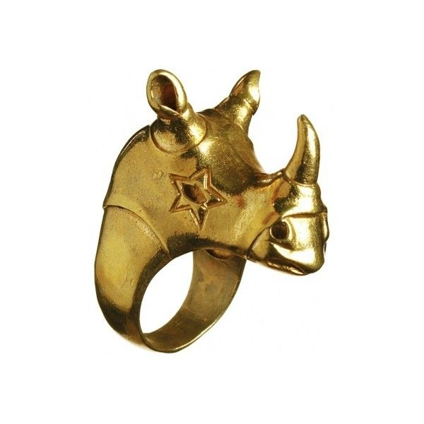 Chunky Gold Rhino Ring liked on Polyvore featuring jewelry rings