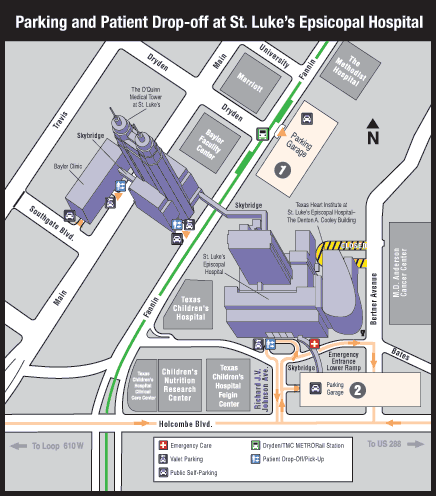 Landmark map with parking indicated for Texas Heart Institute at