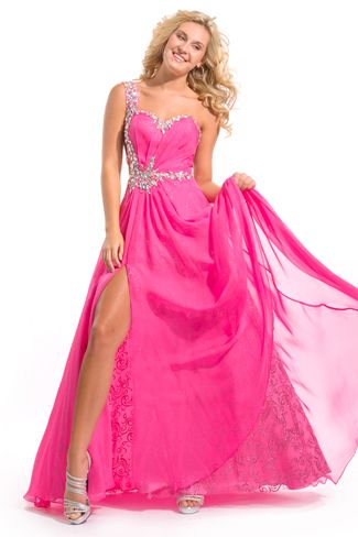 party time formals  6038 sweetheart one strap long gown