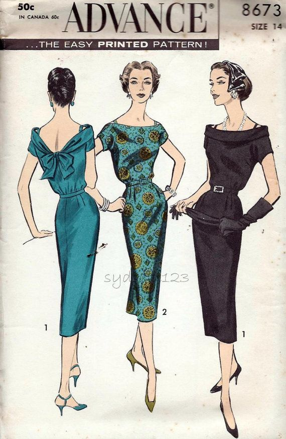 Vintage Pattern 1958 Off the Shoulder Dress Pattern Roll Collar Ties ...