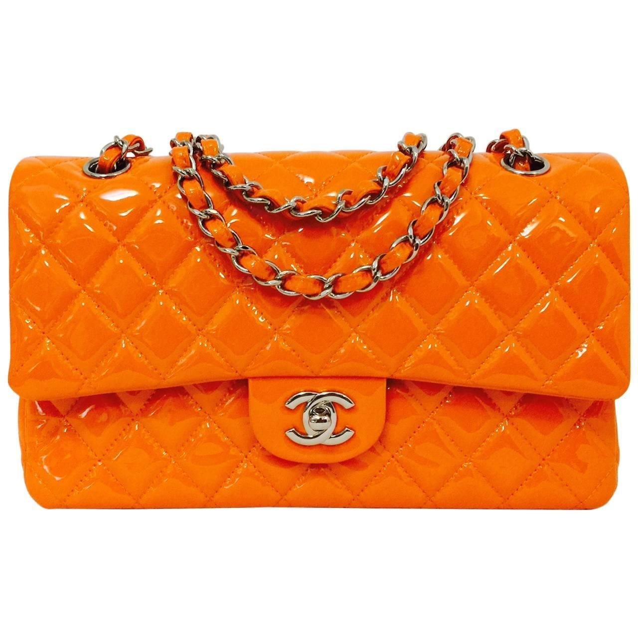 Leather quilted handbags and purses - Chanel Orange Diamond Quilted Patent Leather 2 55 Double Flap Bag