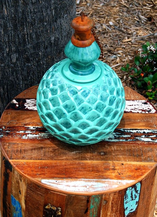 Green Dahlia Mexican Clay Pottery Oil Lamp Tiki Torches