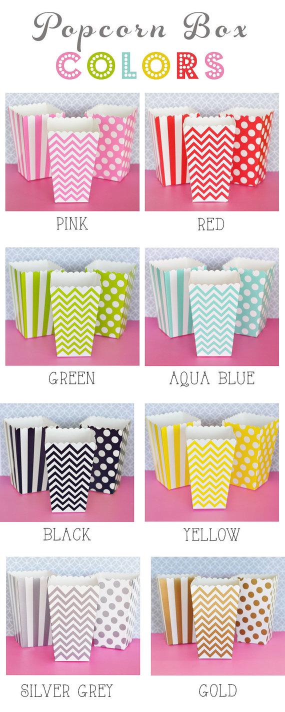 Popcorn Boxes - Stripe Polka Dot or Chevron for Candy Bar - Wedding ...