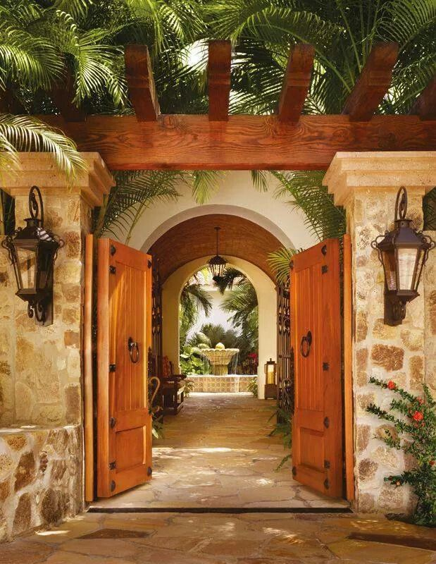 Beautiful mexican entrance i just love this rustic for Arcos de ladrillo rustico