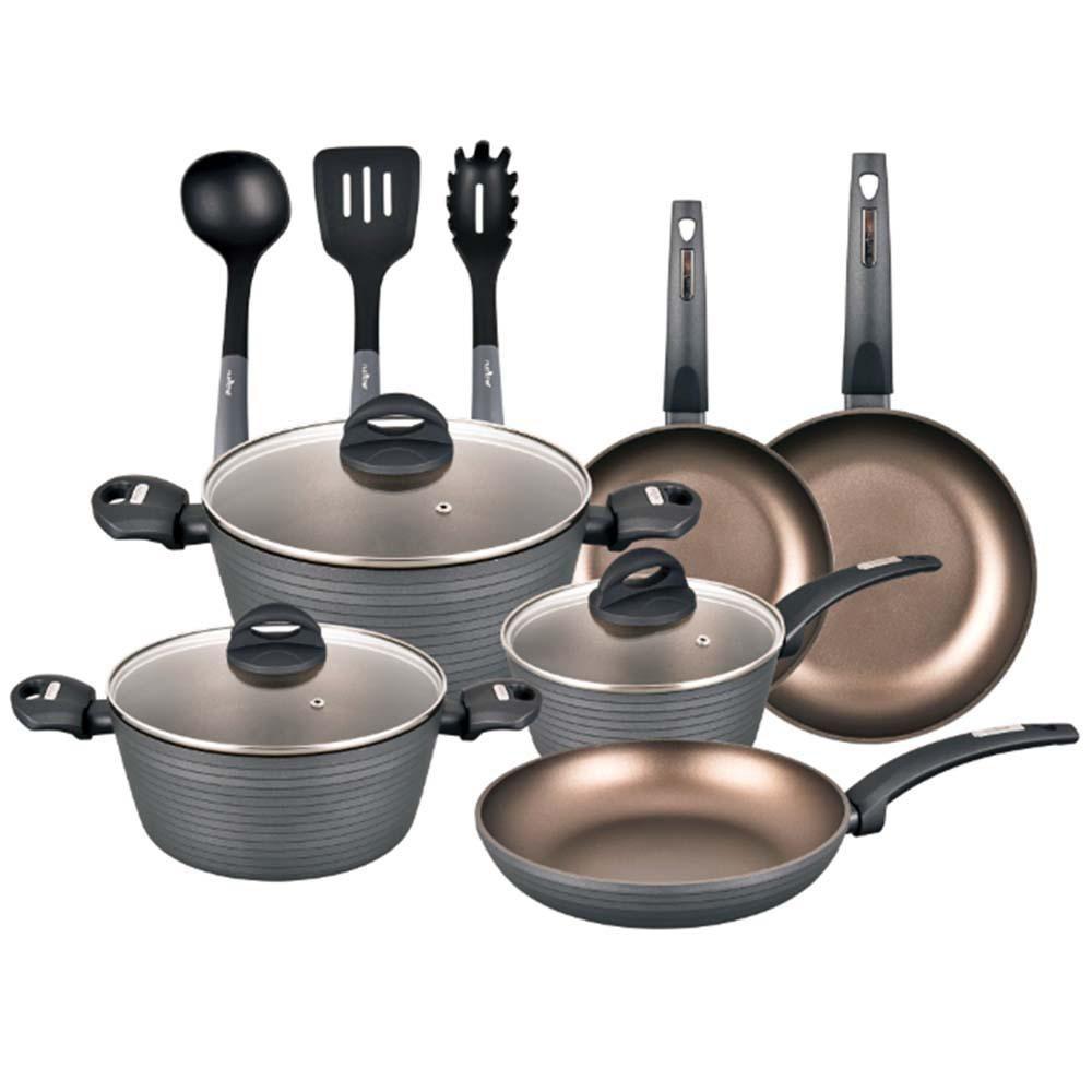 Nutrichef 12 Piece Aluminum Non Stick Kitchen Cookware Set With