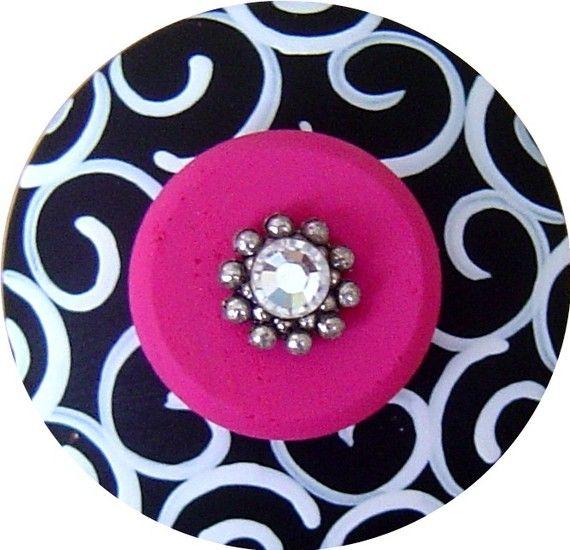 Black and White Swirls Hot Pink Swarovski Crystal Jeweled Hand ...