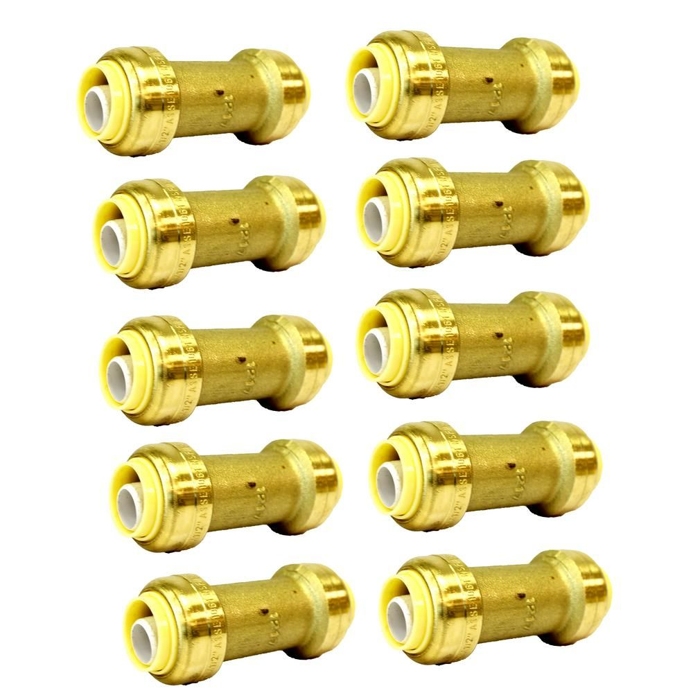 Charman Manufacturing 3 4 In Brass Push Connect Plumbing Fitting Repair Coupling 10 Pack Brass Fittings Brass Pex Tubing