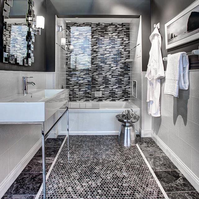 Bathroom Tiles Mosaic Border: The Tile Shop Milky Black Polished