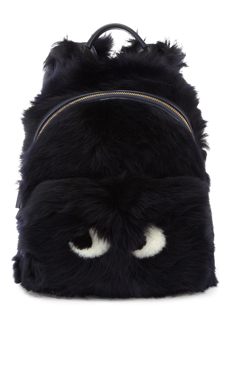 Backpack Mini Eyes In Ink Shearling by ANYA HINDMARCH for Preorder on Moda Operandi