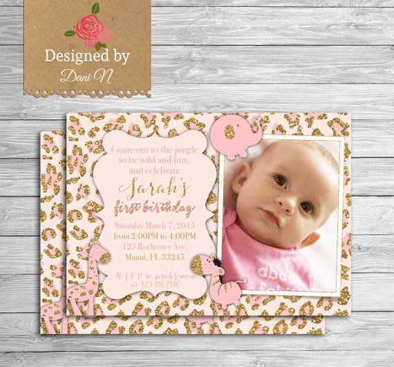 Girl Jungle Birthday invitation, safari party, animals printable - invitation for 1st birthday party girl