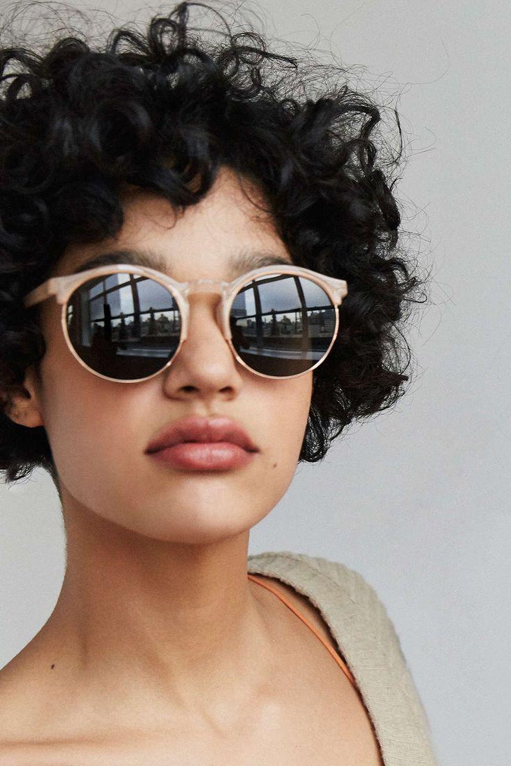 Keyhole Round HalfFrame Sunglasses Short curly hair