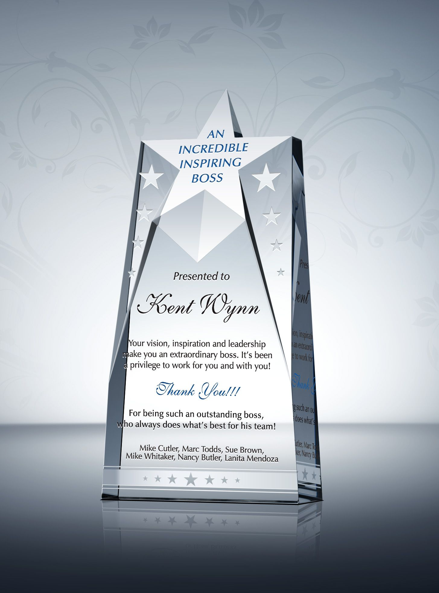 The Star Boss Gift Plaque honors great bosses and ...