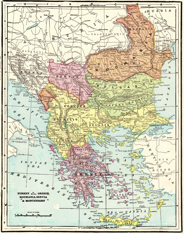 1901 Antique Map of TURKEY Vintage Romania GREECE Serbia ...