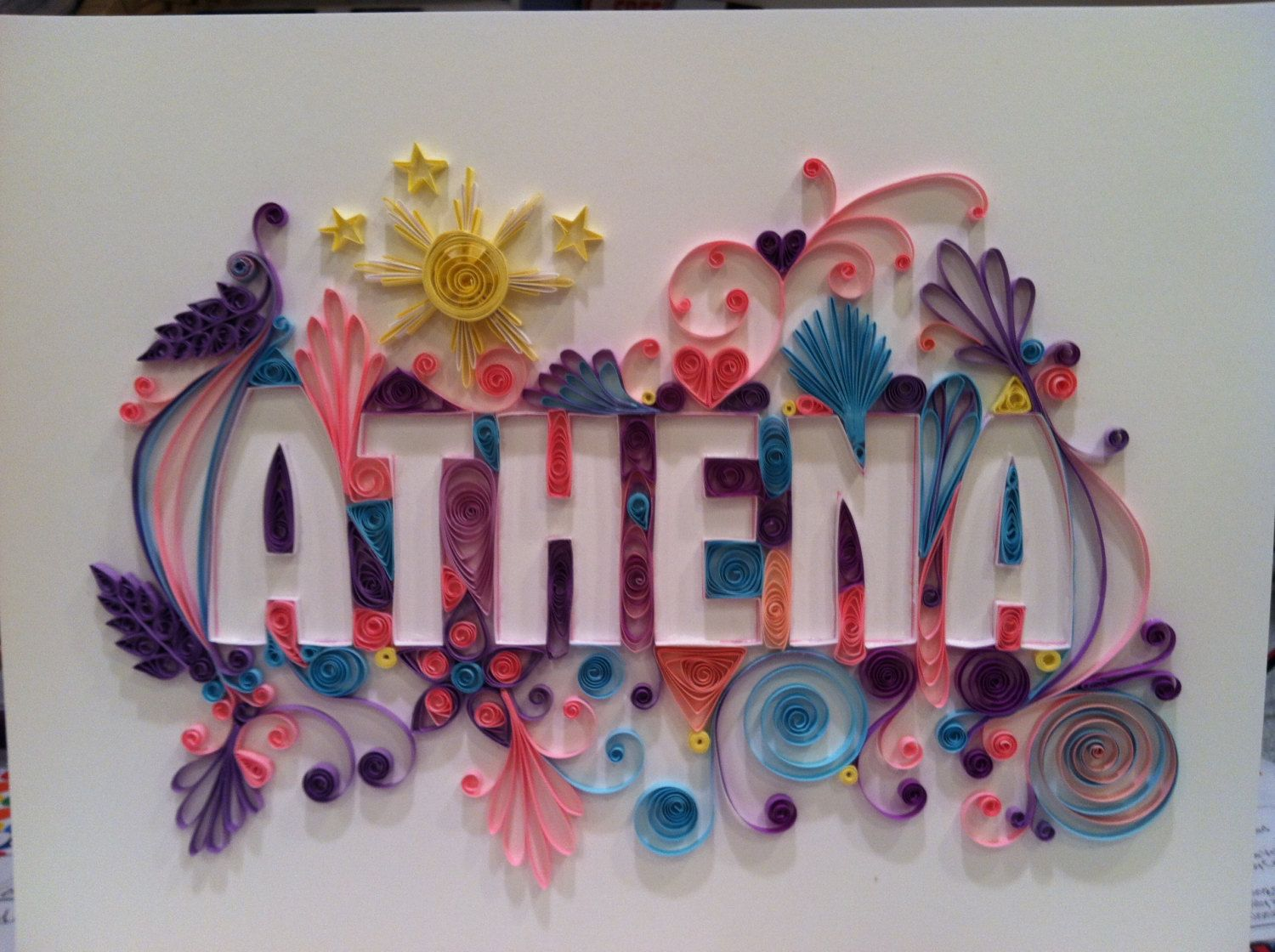 Do It Yourself Home Design: Custom Quilling Name Or Special Word UNFRAMED Frame It