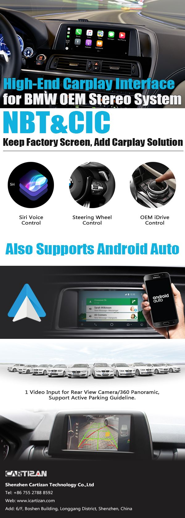 Video interface embedded Carplay/Android Auto for BMW cic and nbt