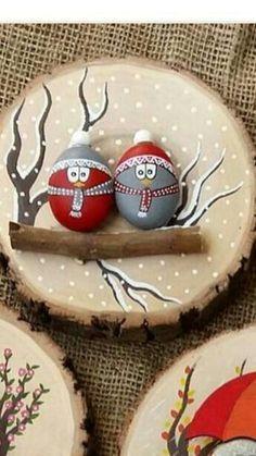 Decoração De Natal Com Pedras Pintadas
