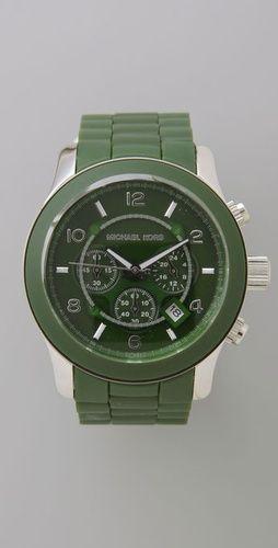 looks dangerous! army green rubber watch -- michael kors