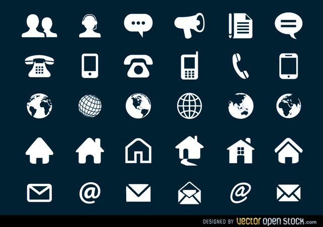 Contact Flat Icons Set Free Vector Download Cv Kreatif Kreatif