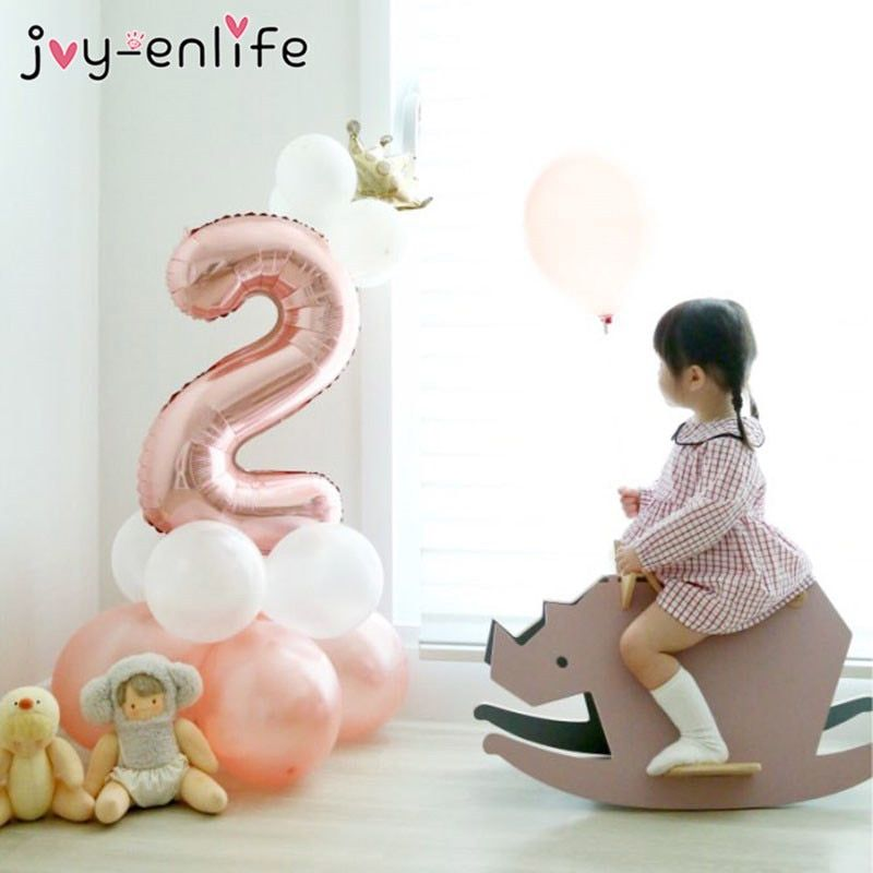 Birthday Balloons Rose Gold Number Foil 1 2 3 4 5 6 7 8 9