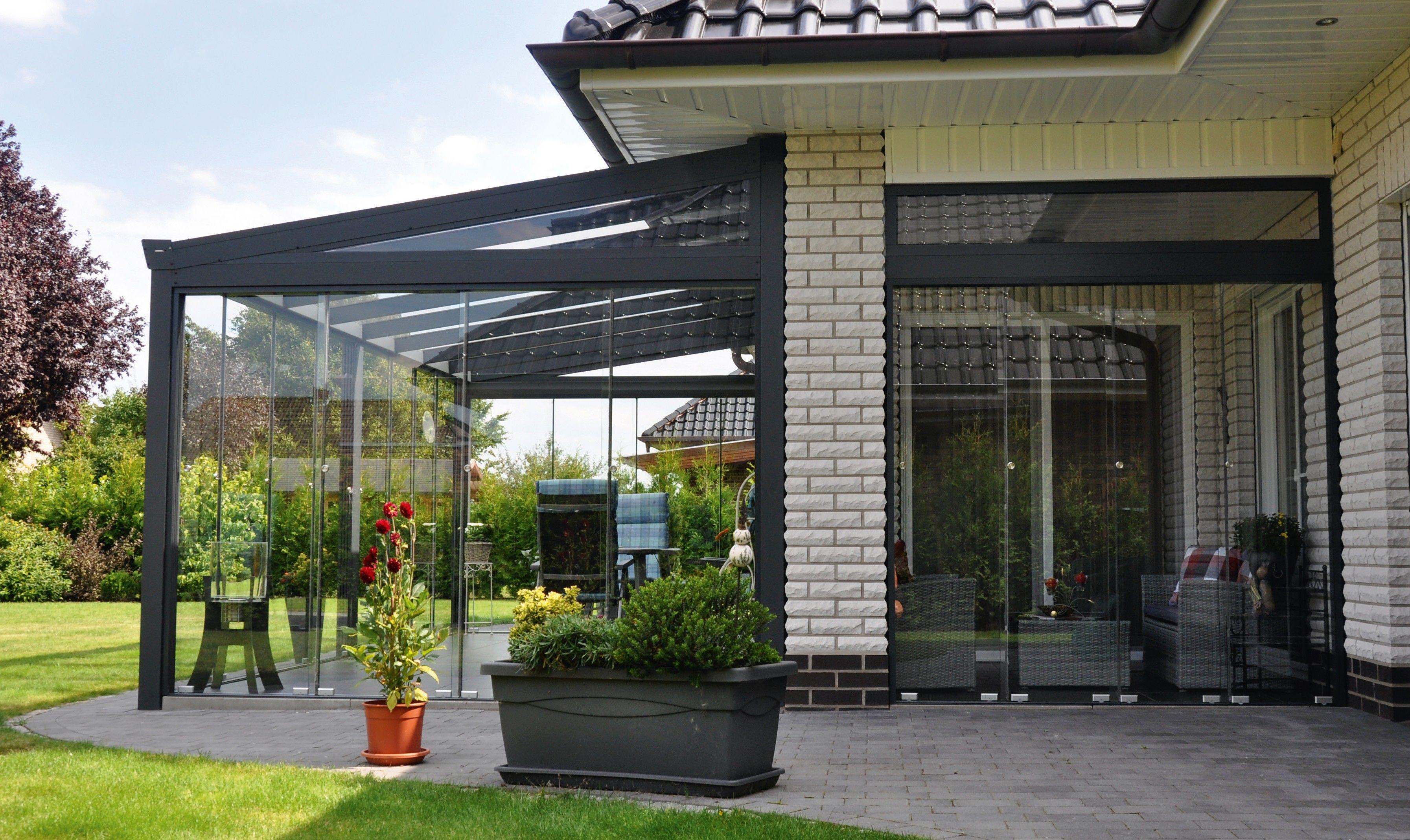 Veranda completa con laterali in vetro scorrevoli, vetro