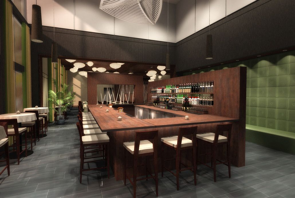 D rendering for modern restaurant bar design prevision