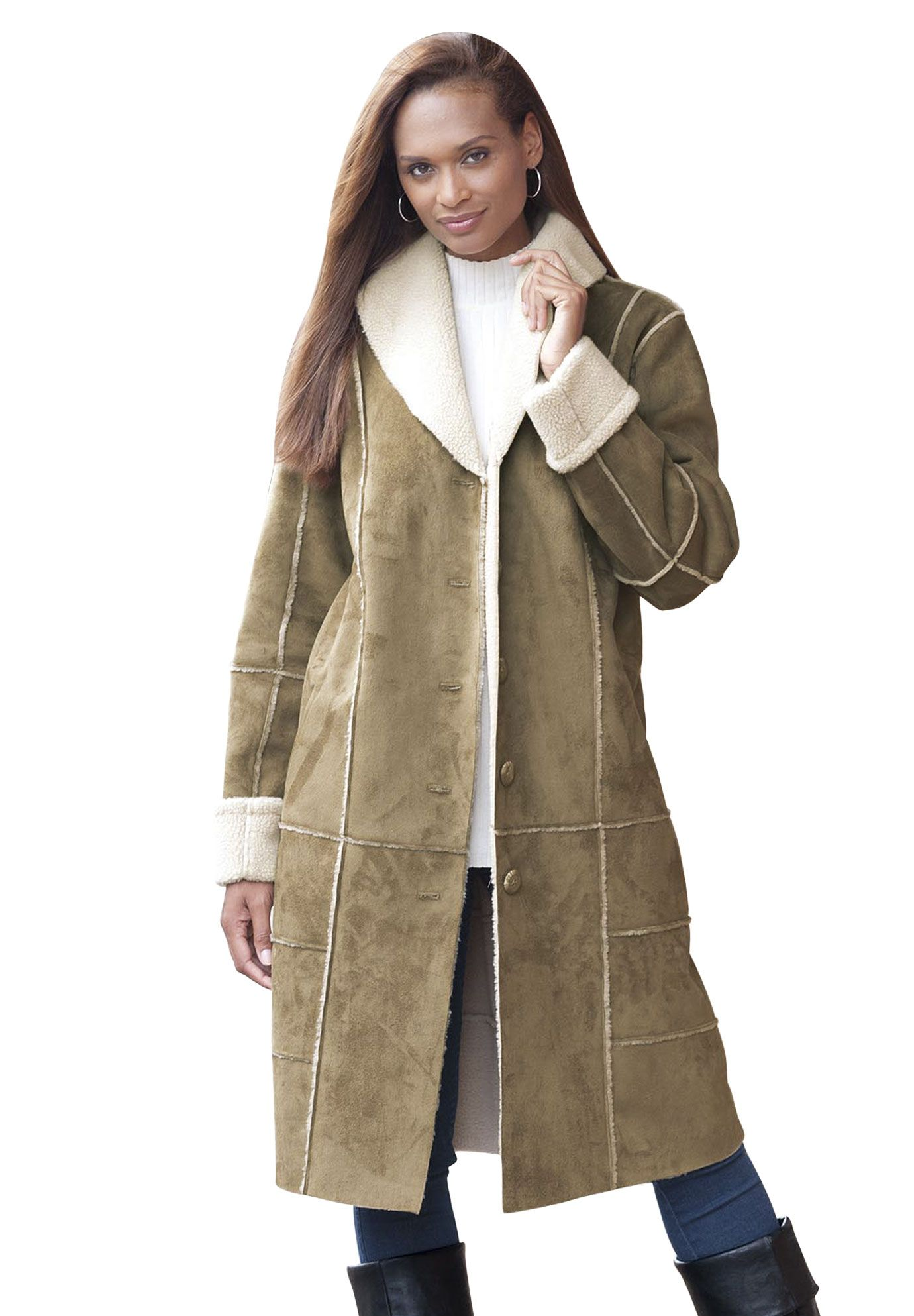 bf18b2166 Plus Size Faux Shearling Long Coat | Plus Size Winter Coats | Jessica London