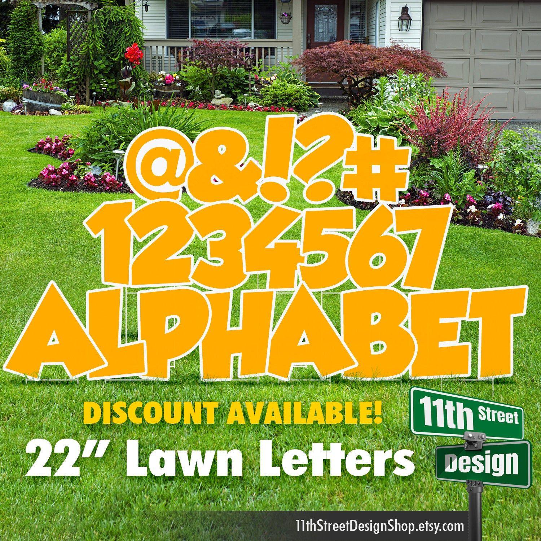 22 Yellow Lawn Letter Yard Signs Full Alphabet 22 Etsy Yard Cards Happy Birthday Yard Signs Birthday Yard Signs