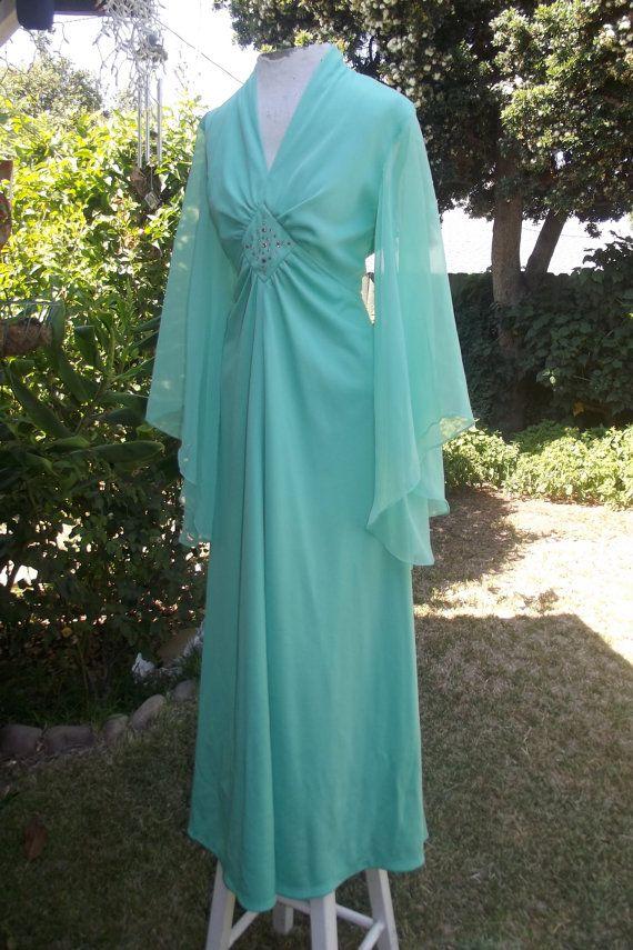 2b7f5e2c656 The River Run Dress Vintage 70s Seafoam Green Disco Angel Sleeve Rhinestone  Hippie Retro Maxi Dress M L