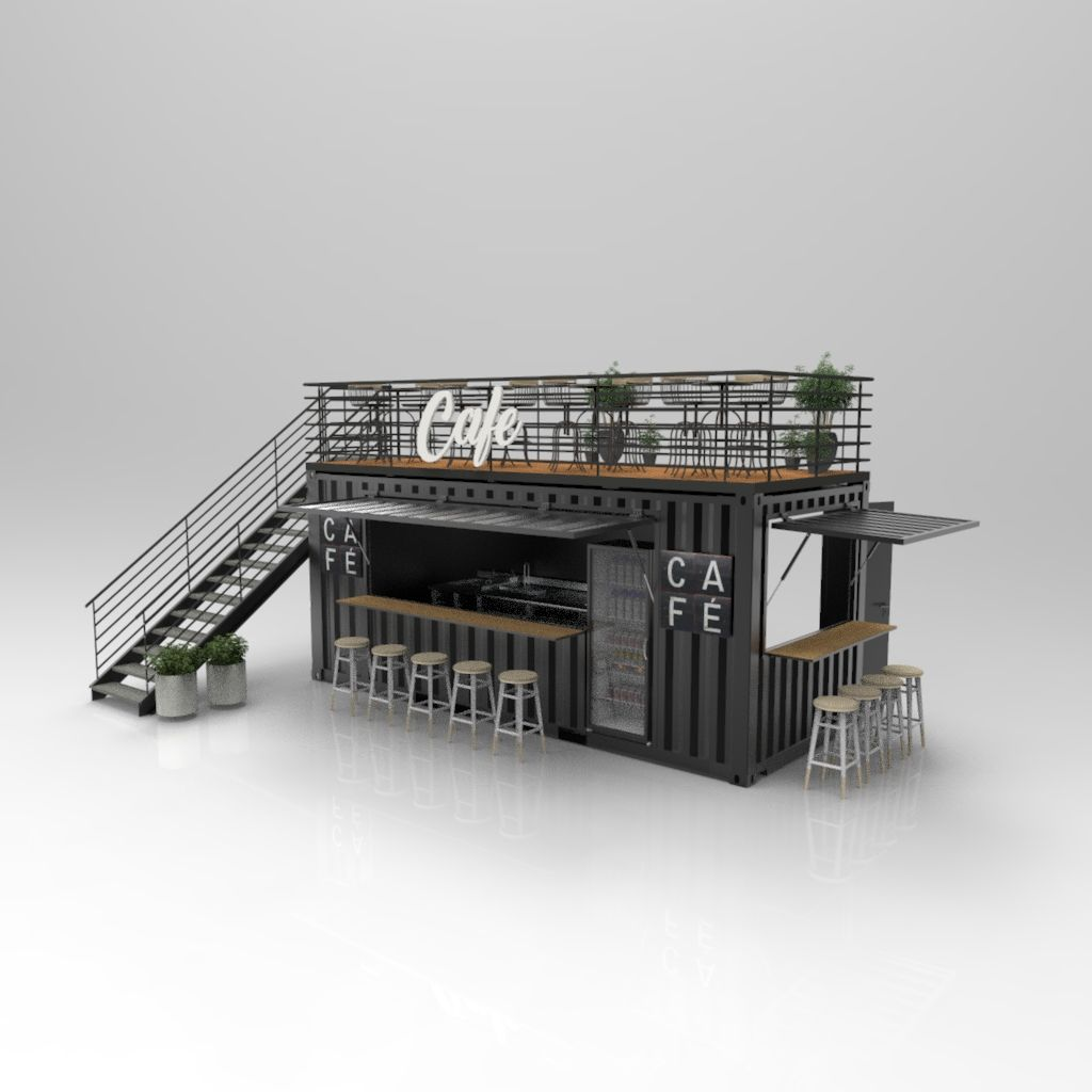 20ft Container Cafe 3d model #containerhouse
