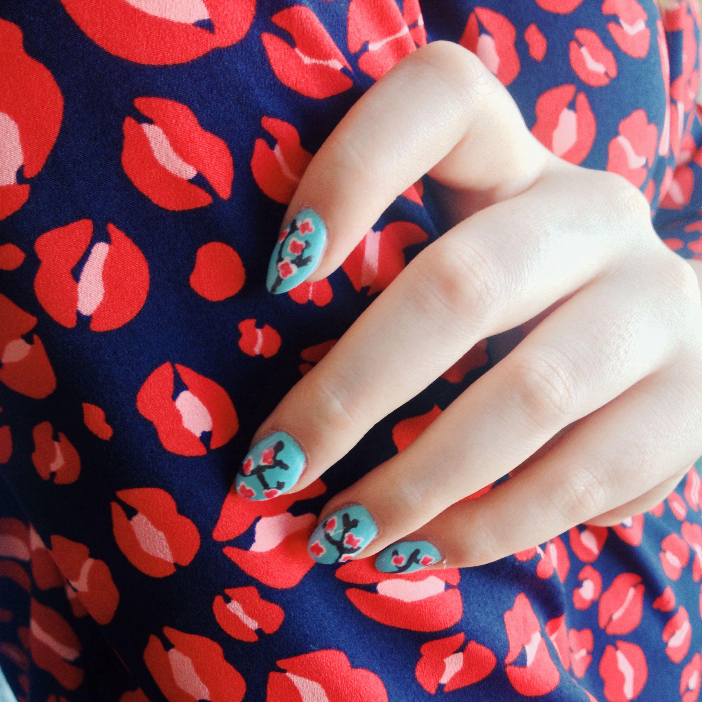 Japanese cherry blossom nails // leopard print kisses dress | Nails ...