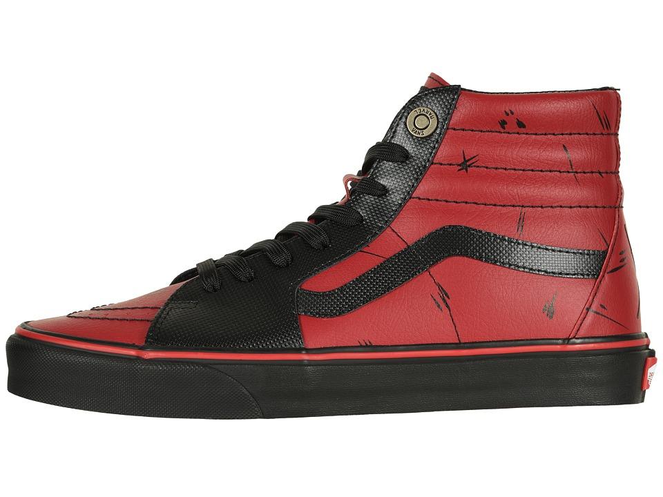 Herren Vans x sk8 Hi Marvel Deadpool Skateboard Schuhe rot schwarz