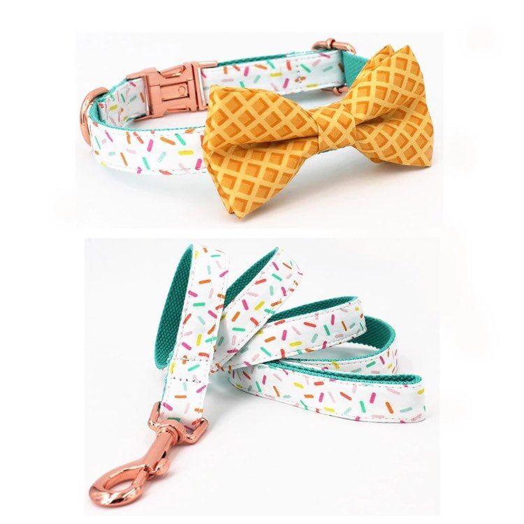 Cute ice cream doggy neckwear pet collar leash and bow