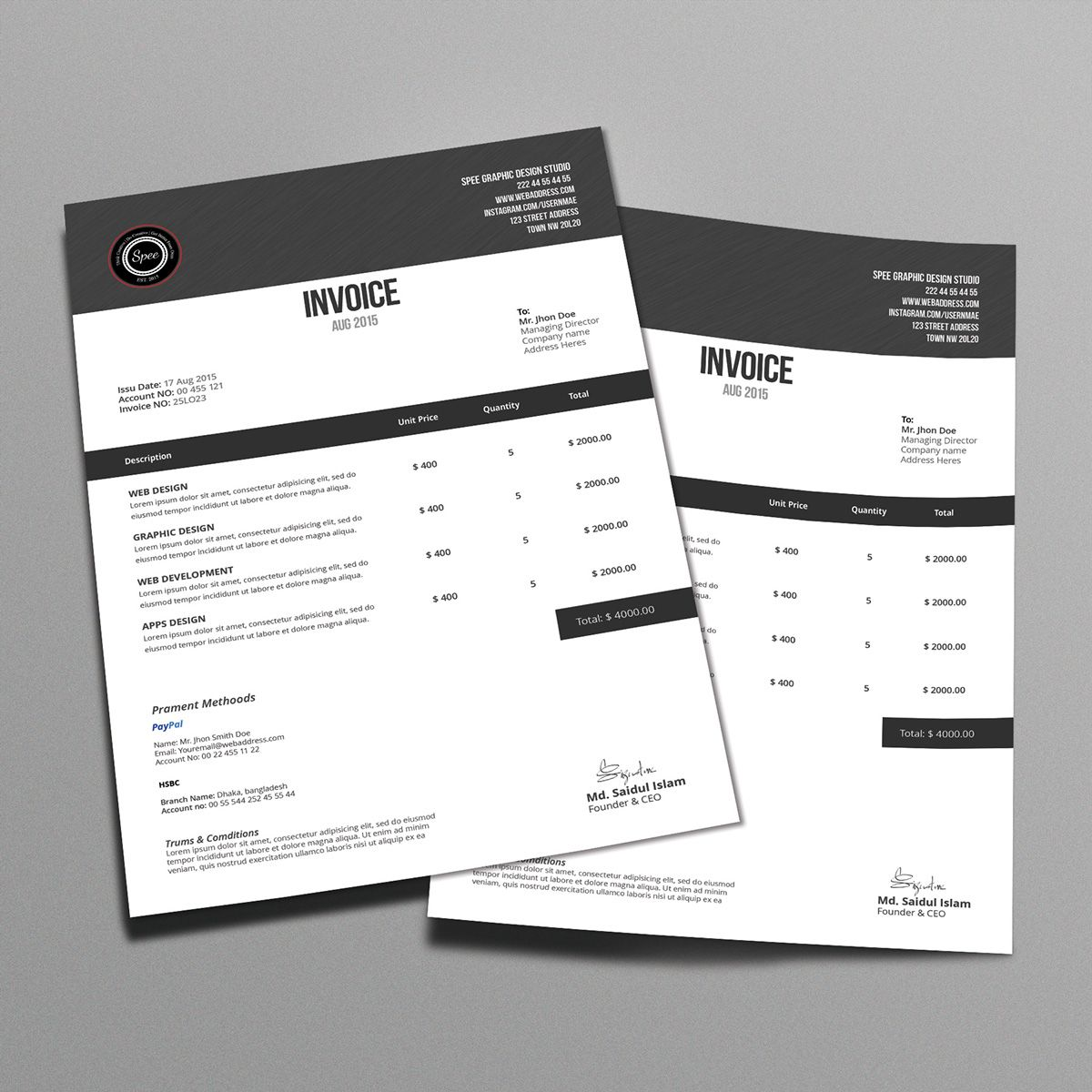 Minimalist Invoice Template Design On Behance Invoice