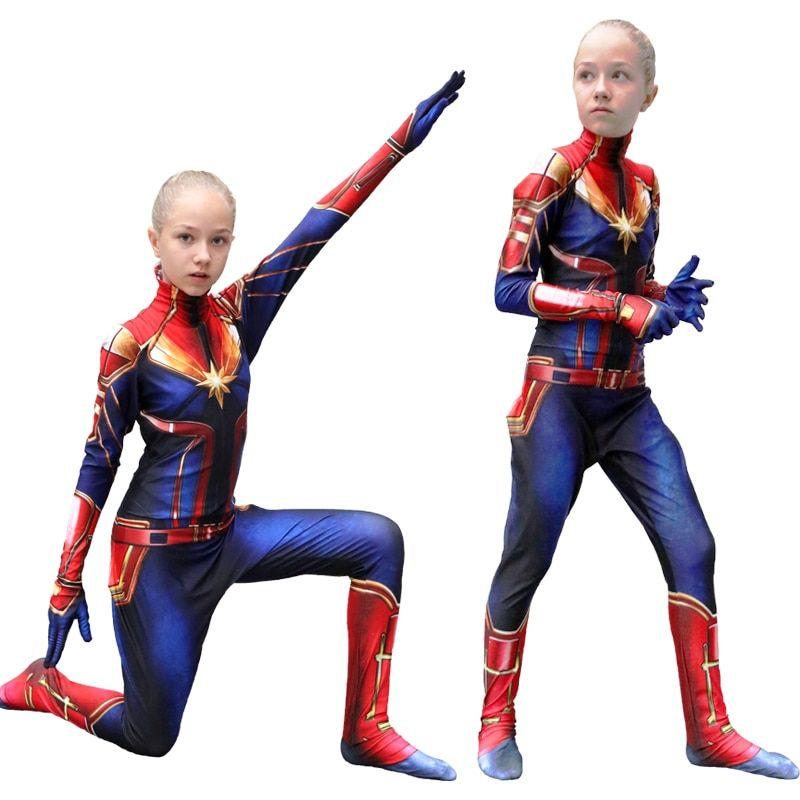 Captain Marvel Carol Danvers Women Girls Halloween Cosplay Bodysuit Costume