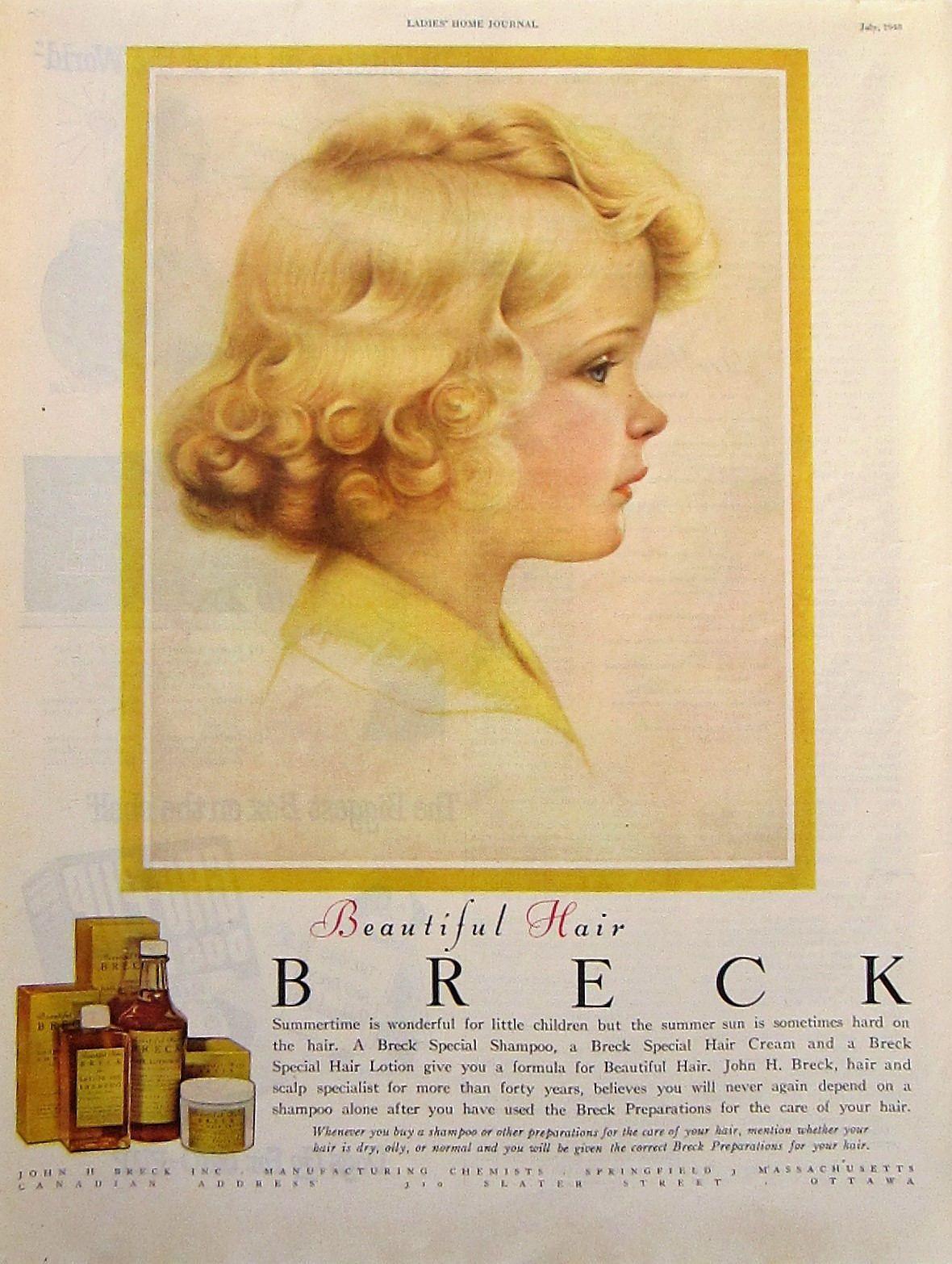 breck shampoo vintage advertisement bathroom wall art girls
