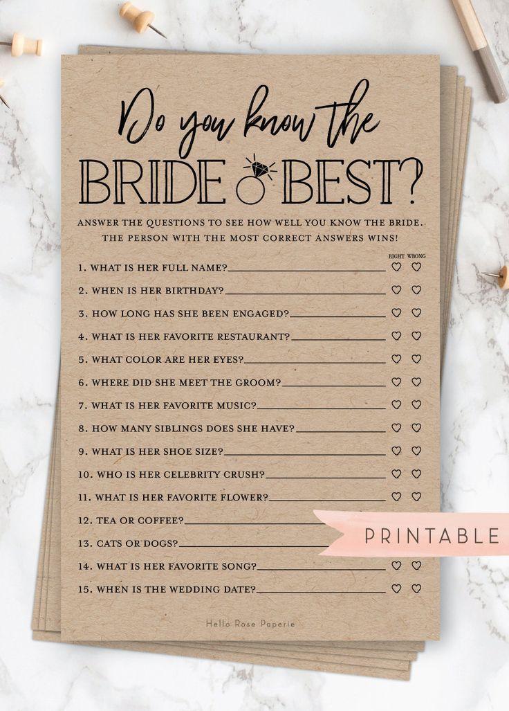 Kennst du die Braut am besten? . Druckbare Bridal Shower Fun Game. Rustikales Kraftpapier und Weiß. Hochzeits-Hennen-Party. Sofortiger digitaler Download bridal party #bridalshowerdecorations