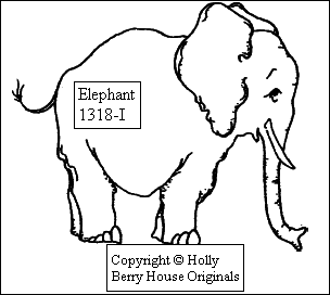 Elephant rubber stamp--designed by Kathryn Read at Holly Berry House Originals for Noah's Ark or any use, get one TODAY!